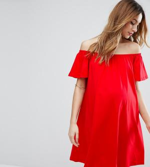 ASOS Maternity Платье мини для беременных с открытыми плечами. Цвет: красный
