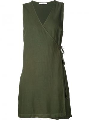 Короткое платье с запахом 321. Цвет: зелёный