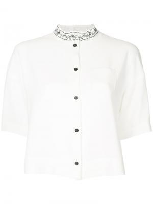 Рубашка с вышивкой на воротнике Taro Horiuchi. Цвет: белый