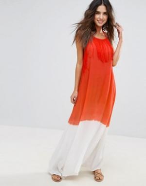 Anmol Пляжное платье макси. Цвет: оранжевый
