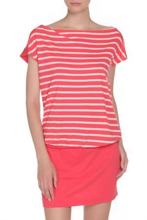 Мини-платье в полоску Liu Jo. Цвет: коралловый, белый