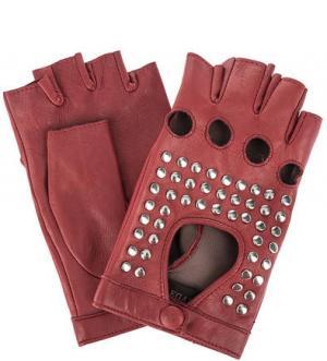 Кожаные митенки с металлическим декором ELEGANZZA. Цвет: красный