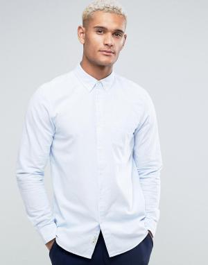 Jack Wills Голубая оксфордская рубашка классического кроя с полосками. Цвет: синий