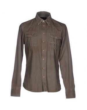 Джинсовая рубашка CARE LABEL. Цвет: хаки