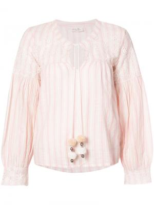 Блузка в полоску Love Shack Fancy. Цвет: телесный