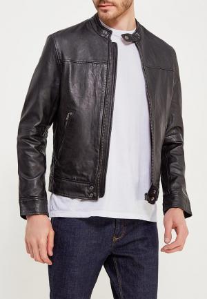 Куртка кожаная Wrangler. Цвет: черный