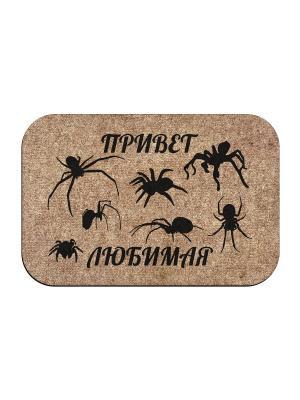 Коврик придверный Привет пауки MoiKovrik. Цвет: темно-бежевый