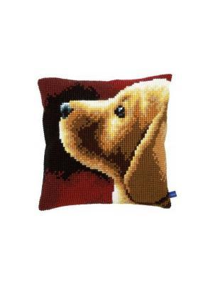 Набор для вышивания лицевой стороны наволочки Лабрадор 40*40см Vervaco. Цвет: коричневый, бордовый, желтый