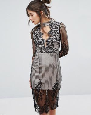 Love Triangle Кружевное платье с длинными рукавами и вырезом. Цвет: черный