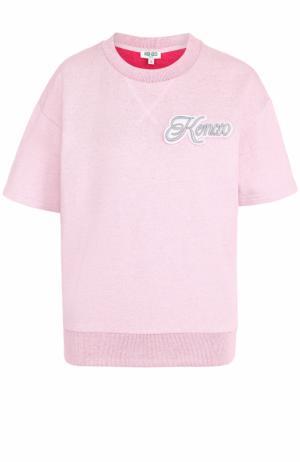 Топ с коротким рукавом и логотипом бренда Kenzo. Цвет: светло-розовый