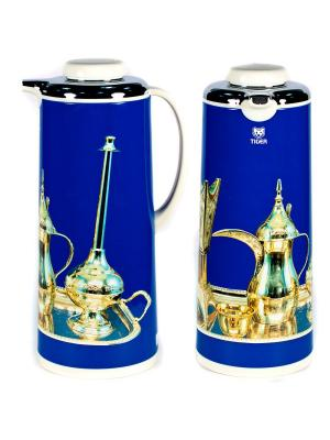 Термос метал. 1.6л. со стеклянной колбой Арабские мотивы голубой Tiger corporation. Цвет: голубой