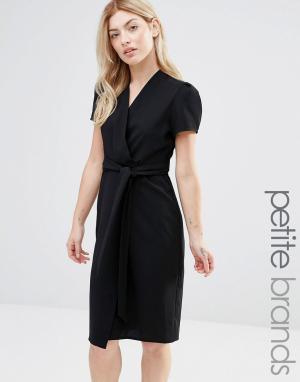 Alter Petite Чайное платье миди с запахом. Цвет: черный