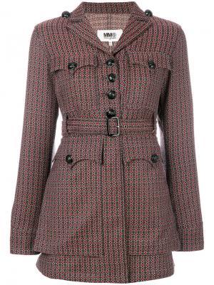 Жаккардовый пиджак с поясом в стиле 70-х Mm6 Maison Margiela. Цвет: многоцветный