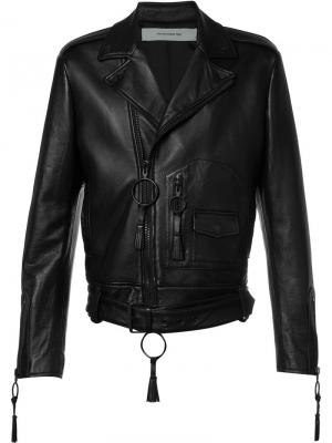 Байкерская куртка Giorgio De Chirico Off-White. Цвет: чёрный
