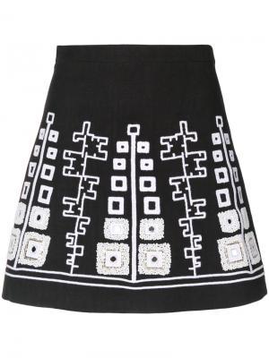 Мини-юбка с вышивкой Wandering. Цвет: чёрный
