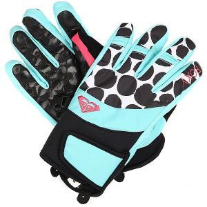 Перчатки сноубордические женские  High Fiv Gloves Irregular Dots True Roxy. Цвет: голубой,белый,черный