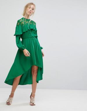 Pearl Платье миди с кружевной вставкой и асимметричным подолом. Цвет: зеленый