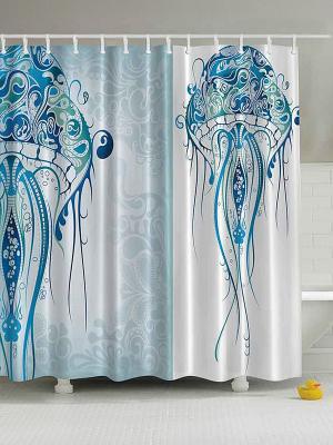 Фотоштора для ванной Подводный мир, 180*200 см Magic Lady. Цвет: голубой, белый, синий, зеленый