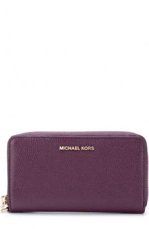 Кожаное портмоне с отделением для смартфона MICHAEL Kors. Цвет: сиреневый