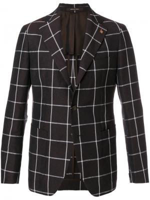 Пиджак с узором в клетку Tagliatore. Цвет: коричневый