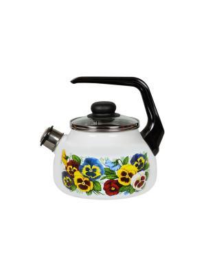 Чайник 2,0 л, со свистком,  СтальЭмаль. Цвет: розовый