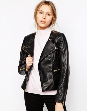 Barneys Originals Кожаная куртка без воротника Sienna