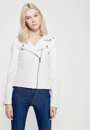 Куртка кожаная Modis. Цвет: белый