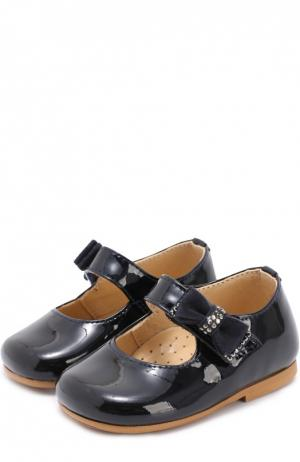 Лаковые туфли с бантом Clarys. Цвет: синий