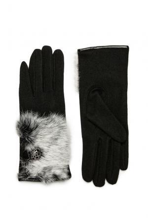 Перчатки из шерсти с отделкой меха 173764 Moltini. Цвет: черный