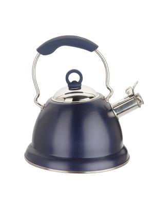 Dekok Чайник металлический со свистком 3,0Л и пьезоэлектрическая зажигалка в подарок. Цвет: синий
