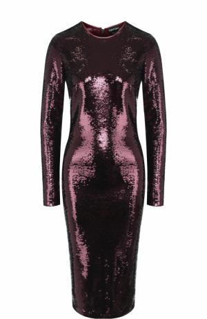 Платье-миди с пайетками и длинным рукавом Tom Ford. Цвет: бордовый