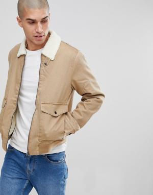 Only & Sons Куртка с подкладкой из искусственного меха. Цвет: рыжий