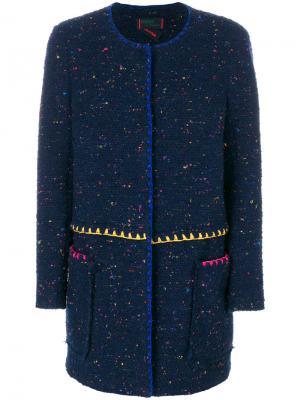 Текстурированное однобортное пальто Femme By Michele Rossi. Цвет: синий