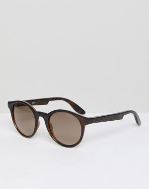 Carrera Круглые пластмассовые солнцезащитные очки. Цвет: коричневый