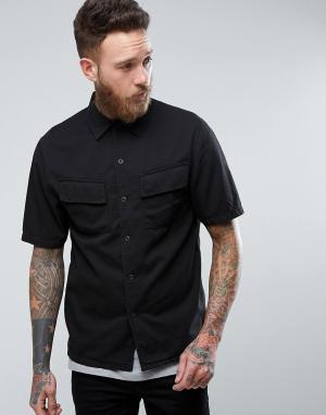 Nudie Jeans Рубашка с короткими рукавами и карманами Co Svante. Цвет: черный