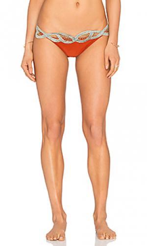 Низ бикини embroidered AGUADECOCO. Цвет: оранжевый