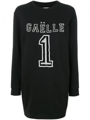 Платье-джемпер с логотипом Gaelle Bonheur. Цвет: чёрный