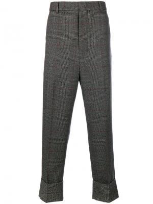 Классические укороченные брюки в клетку Wooyoungmi. Цвет: серый