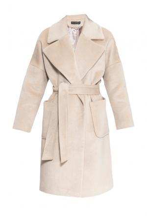 Пальто из шерсти с поясом 161173 Anna Dubovitskaya. Цвет: бежевый
