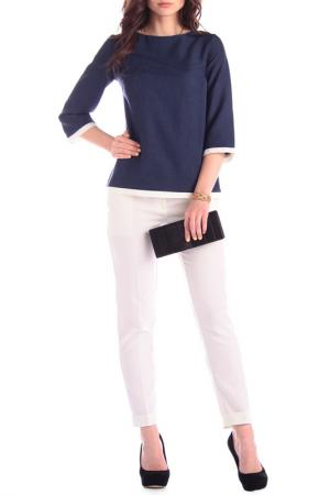 Комплект: блуза, брюки MAURINI. Цвет: темно-синий, молочный