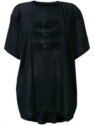 Просвечивающаяся футболка с вышивкой Mm6 Maison Margiela. Цвет: чёрный