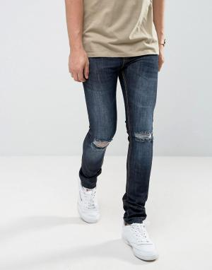 Loyalty & Faith Синие джинсы скинни с закатанными краями and Manchester. Цвет: синий