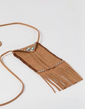ASOS DESIGN festival pouch pendant in brown. Цвет: коричневый