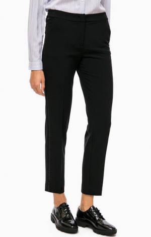 Черные укороченные брюки с атласными вставками по бокам olsen. Цвет: черный