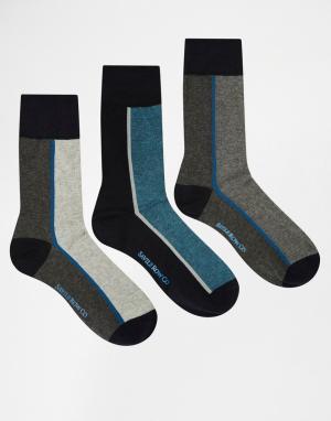 Saville Row 3 пары носков Savile. Цвет: серый