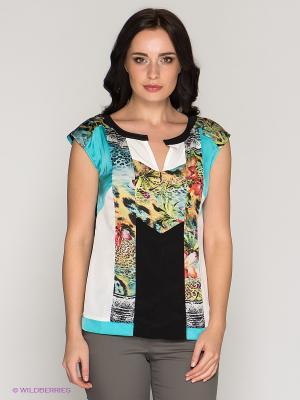 Блузка BOVONA. Цвет: бирюзовый, черный