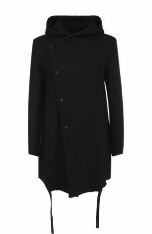 Однобортное пальто с капюшоном из смеси хлопка и шерсти Lost&Found. Цвет: черный