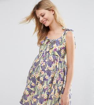 ASOS Maternity Платье для беременных с цветочным принтом. Цвет: мульти