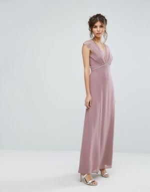 Elise Ryan Платье макси с кружевной отделкой. Цвет: розовый
