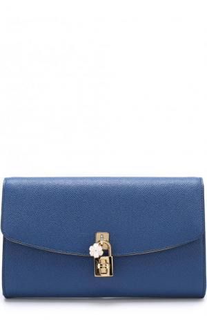 Кожаный клатч Dolce на цепочке & Gabbana. Цвет: синий